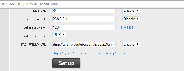 Oupree Video Encoder Settings for Youtube live stream