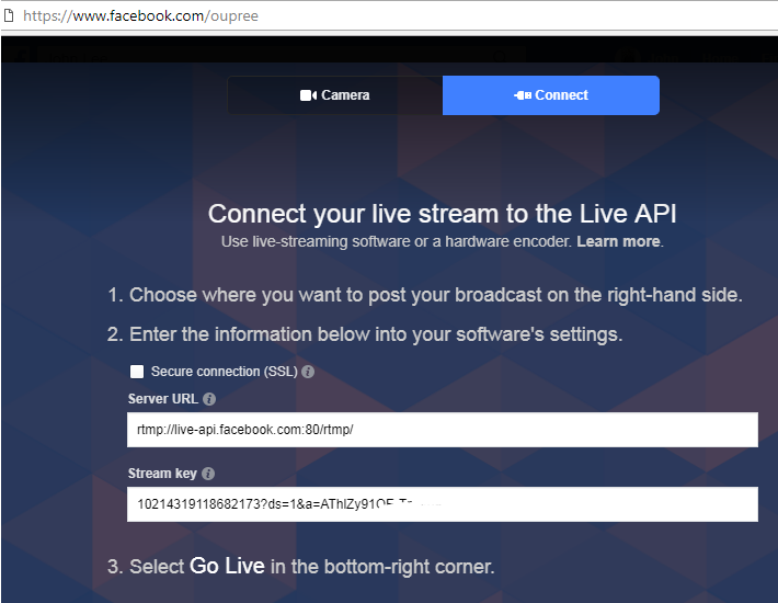 oupree video encoder to facebook live stream
