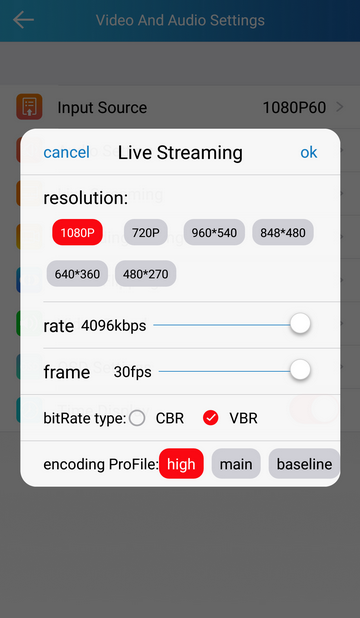 rtmp streaming settings for Q7